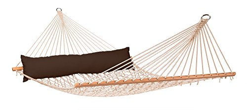 LA SIESTA California Arabica - Weather-Resistant Rope Kingsize Spreader Bar Hammock - King-Sized hammock with spreader bars for 1-2 people - 355 lb weight capacity Weatherproof and UV-resistant; suitable for permanent outdoor use Spreader bar made of shorea wood from responsible forestry (FSC certified) - patio-furniture, patio, hammocks - 418iXH5KxgL -