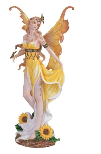12.5 Inch Sunflower Fairy Statue Figurine Figure Fairies Magic Butterfly Yellow