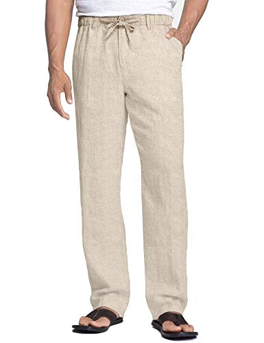 COOFANDY Men's Casual Linen Pants Elastic Waist Drawstring Cotton Trousers