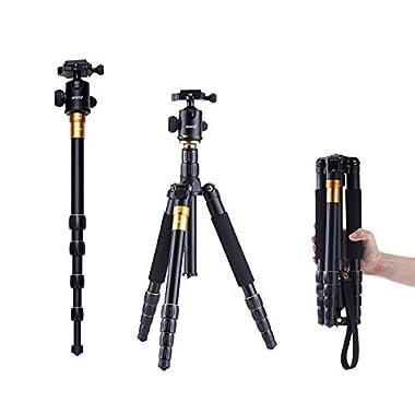 Koolehaoda K-666 Portable Camera Aluminium Tripod Monopod With Ball Head Pocket For SLR Camera Canon Nikon Petax Sony