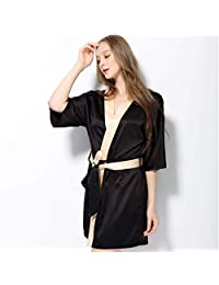 PLLP Comfortable Home Pajamas Shop Cotton with Pockets Bathrobe- hot Ms Polyester Sleep Dress Sleeve Spring and Summer Within Temptation Nightgown Home Clothes Men's and Women's Home Clothes