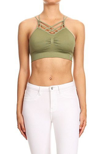 Criss Cross Lace-up Strap Active wear Fashion Sports Bralette removalble pad (Large/X-Large, Light Olive) (Cross Bra Sport)