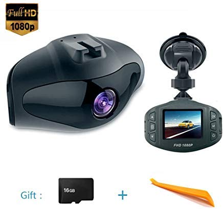 Onlylife Mini Dash Camera FHD 1080P 6G Lens 170° View Angle Car DVR Recorder 1.5 Inch LCD Screen Vehicle Dash Cam with G-Sensor Loop Recording Motion Detection Park ing Monitor and G-Sensor16G microSD