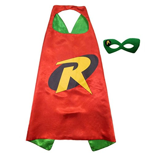 Superhero or Princess Comics Cartoon Dress Up Costume Cape & Mask Set For Kids Toddlers Pretend Play (Batman And Robin Toddler Costume)
