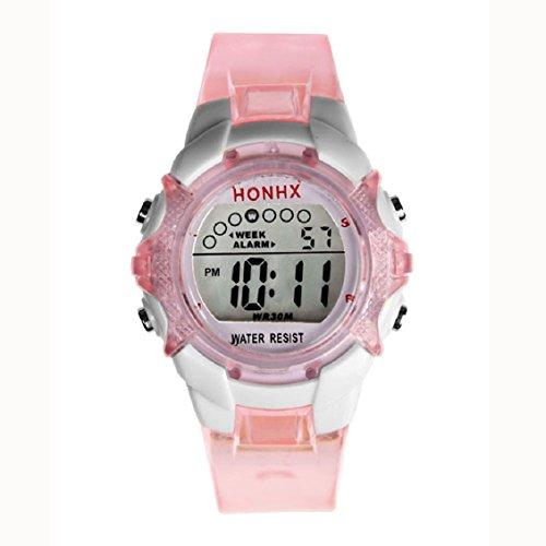 Lowpricenice Waterproof Children Girls Digital LED Quartz Alarm Date Sports Wrist Watch Pink