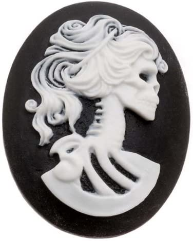 Lucite Oval Cameo - Black With White Lolita Skeleton 40x30mm (1 Piece)