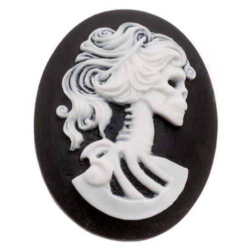 (Beadaholique Lucite Oval Cameo - Black with White Lolita Skeleton 40x30mm (1 Piece))