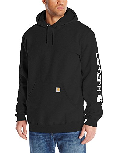 Carhartt Men's Big & Tall Signature Sleeve Logo Midweight  Sweatshirt Hooded,Black,XXXX-Large