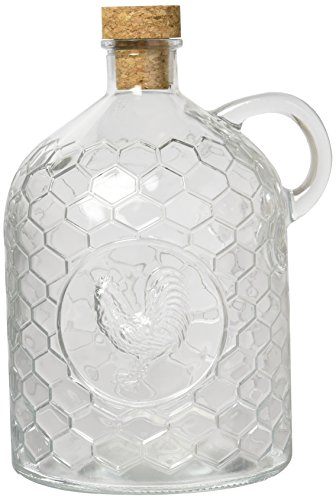 Circleware 06787 Rooster Glass Jug with Handle and Cork,Glassware for Water, Juice, Beer, Wine, Liquor, Beverage Drinks, Huge 2 Liter, Clear ()