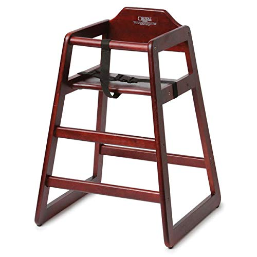 Royal Industries ROY700M 29'' Stackable High Chair w/Waist Strap - Wood, Mahogany