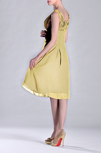 of Special Mother Length Knee Pleated Occasion Bridesmaid Formal Daffodil Brides the Dress 6ZzqqY