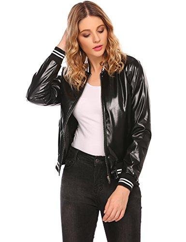 Leather Baseball Jacket (OD'lover Women's Faux Leather Short Baseball Bomber Jacket Coat)