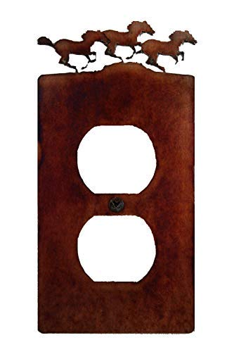 Horse Outlet Cover - Decorative Rustic Finish Steel Outlet Cover/Wall Plate - Horses