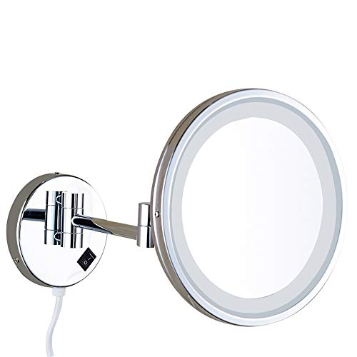 NFAX Wall Mount Vanity Mirror Lighted LED 10 Inch Single-Sided Round Shape Wall Mounted Makeup Mirror Non-Magnifying and Swivel Folding Arms for Bathroom and Hotel ()
