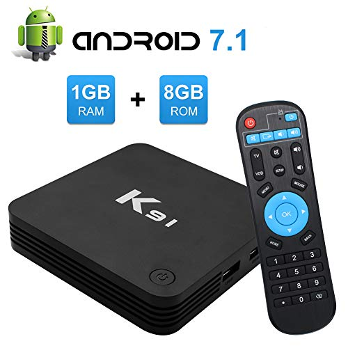 K91 Android TV Box, Android 7.1 TV Box Amlogic S905L Quad Core 64bit 1GB DDR3 RAM 8GB ROM 4K WiFi Ethernet (Best Fully Loaded Android Box)
