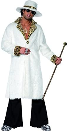 70s Gangster Pimp Daddy 20s Leopard Skin Coat Hat Fancy Dress Costume