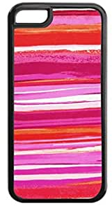 Watercolor Stripes-Magenta/Pink/White - Case for the APPLE IPHONE 5, 6 4.7-Hard Black Plastic Outer Case with Tough Black Rubber Lining
