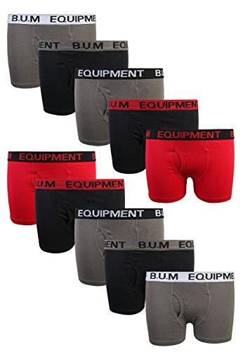 B.U.M. Equipment Boys 10 Pack Solid Boxer Briefs Underwear, Basics #2, Medium/8-10'