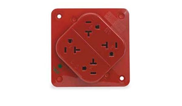2 Pole 3 Wire Grounding 125V 5-20R Hubbell Wiring Systems HBL420H Pro Series 4-Plex Polycarbonate Hospital Grade Receptacle 20 Amp Brown