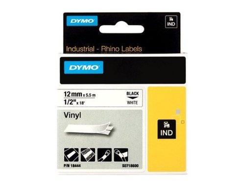 Dymo 18444 RhinoPRO Coloured Vinyl - Permanent adhesive vinyl tape - white - Roll (0.5 in x 18 ft) 1 roll(s) - for Rhino 4200, 6000, 6000 Hard Case Kit; RhinoPRO 5000, 5000 Hard Case Kit