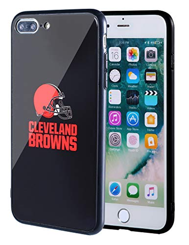 Sportula NFL Phone Case - 9H Tempered Glass Back Cover and Silicone Rubber Bumper Frame Compatible Apple iPhone 8 Plus / 7 Plus (Cleveland Browns)