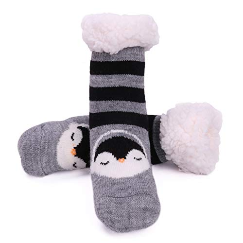 (Toddler Fuzzy Slipper Socks Fleece Lined Cozy Winter Baby Girls Boys Cute Thermal Warm Home Socks with Grippers Christmas Gift New Year Thick Animal Socks Grey/black ASS12)