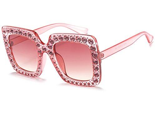 Allt Women Oversized Square Crystal Fashion Sunglasses Brand Designer (Transparent Pink/Pink Gradient, - Pink Glasses Designer