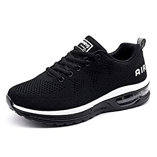 Women's Running Shoes Lightweight Athletic Breathable Sport Air Cushion Fitness Gym Jogging Sneakers Black Size 9