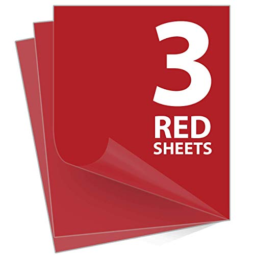 Red Iron On Vinyl - Red Heat Transfer Vinyl - Iron on Vinyl for Cricut & Silhouette Cameo - HTV Vinyl 12 x 10 inches 3 Sheets Pack - Or Use with Heat Press Machine