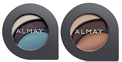 Almay Cosmetics Intense I-Color Everyday Neutrals (110 Blues) and Evening Smoky (150 Blues) Eyeshadow Bundle For Green Eyes, All Day Wear Powder Shadow, Pure, Hypoallergenic, 0.2 oz each