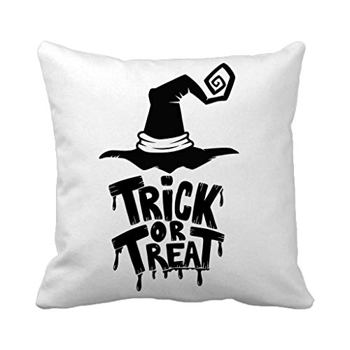 Batmerry Autumn Thanksgiving Theme Decorative Pillow Covers 18 x 18 inch,Trick Hand Lettering Witch Hat White Halloween Font Magic Night Throw Pillows Covers Sofa Cushion Cover Pillowcase