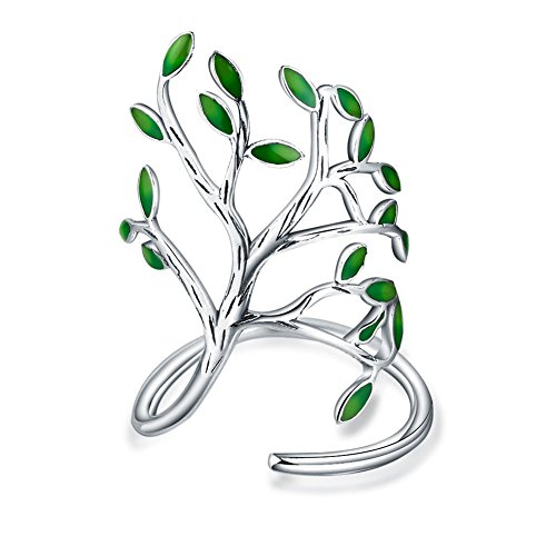 Christian Adjustable Open Leaf Silver Tree of Life Rings for Women Fashion (Sterling Trees)