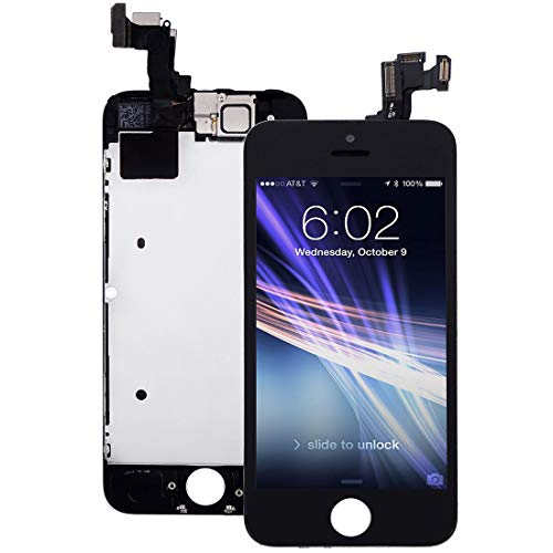 Pre-Assembled Screen Replacement for iPhone 5s Black, LCD Display and Touch Screen Digitizer Replacement for A1453, A1533, A1457, A1530 w/Facing Proximity Sensor, Ear Speaker, Front Camera and Tools
