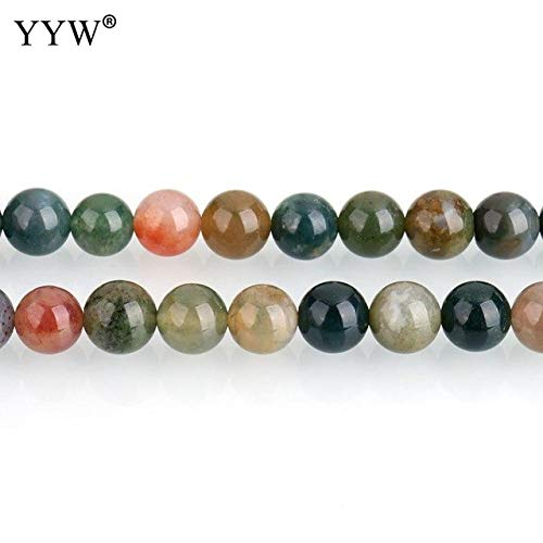 - Calvas DIY Necklace Bracelet Jewelry Making Accessories 6mm Natural Gem Stone Beads Approx 63pcs/Strand Sold Per Approx 15 Inch Strand - (Color: India Agate)