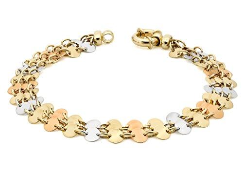 """9ct or 3couleurs Triple rangée Disque Bracelet Femme-20cm/8"""""""