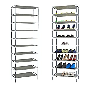 10 Tier Shoe Rack Shoe Tower 30 Pairs Adjustable Large Non Woven Fabric Tall Shoe Shelf Organizer Cabinet for Home Entryway