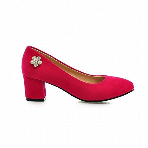 Pumps Heel Decorations Womens Red Carolbar Rhinestone Shiny Shoes Fashion Chunky Dress Mid az5n5H
