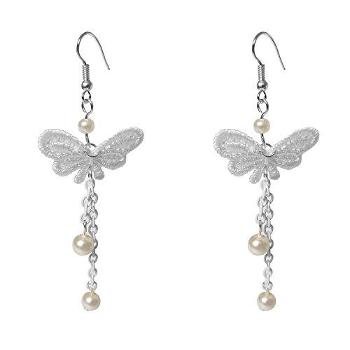 Lolita White Lace Butterfly Beads Fringe Tassel Dangle Earrings For Women (Dangle Lace)