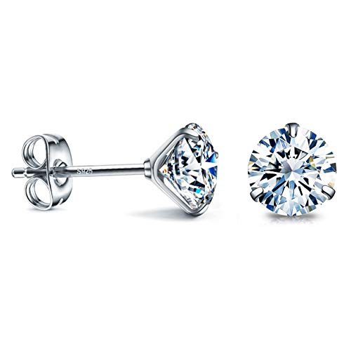 CZ Stud Earrings 925 Sterling Silver 18K Gold Plated Round Cubic Zirconia Hypoallergenic (White-6mm (1 Pair))