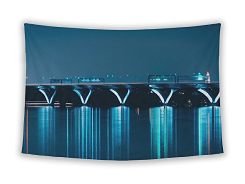 Gear New Wall Tapestry For Bedroom Hanging Art Decor College Dorm Bohemian, The Woodrow Wilson Bridge At Night Seen From National Harbor M, - National Harbor Maryland