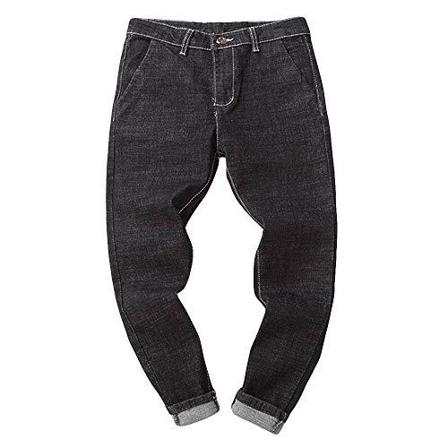 BaZhaHei-Pantalones de hombre, Pantalón de Hombre Algodón del Dril de algodón del otoño Ocasional de los Hombres del Pantalones Vaqueros Talla Grande para Hombre Pantalónes para Hombre Negro