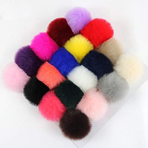 Color: 15 DalaB 30pcs//lot Faux Fox Fur Ball 8cm Pompom Keychain Car Pompon Rabbit Fur Ball Keychain Fur DIY Bag Charms with Fluffy Bunny Ponpon
