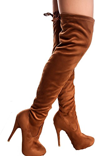 DEV Womens Breckelle 8 Strech Pull On Lace up Faux Over The KneeThig HighStileto Heel Boots Tan Compose-23 Er5GOyl