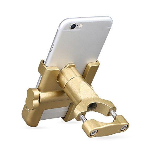 - DYY Mobile phone holder, aluminum alloy electric car mobile navigation bracket, battery car shock bracket, take-out car, motorcycle riding mobile phone holder,Gold,General purpose