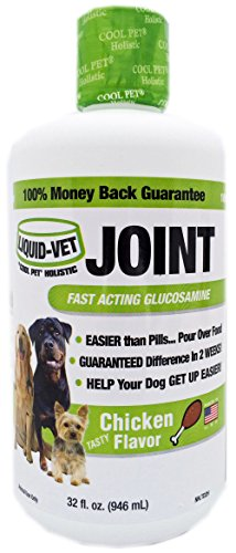 Liquid-Vet Dog Joint Formula – Fast Acting Glucosamine for Joint Aid in Canines – Chicken Flavor – Economy Size – 32 Fluid Ounces (Formula Chicken Joint)