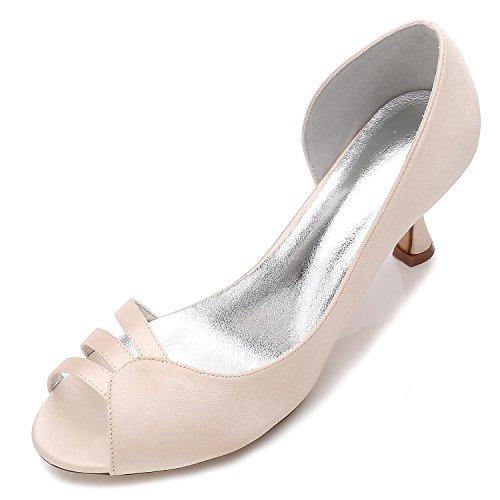 de Satin Champagne Mediados Mujeres de Stretch Gatitos Boda con Zapatos Los de Novias E17061 51 Zapatos Las BqP1g1