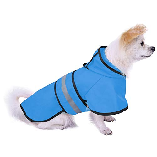 HDE Dog Raincoat Hooded Slicker Poncho for Small to X-Large Dogs and Puppies (Lake Blue, Small)