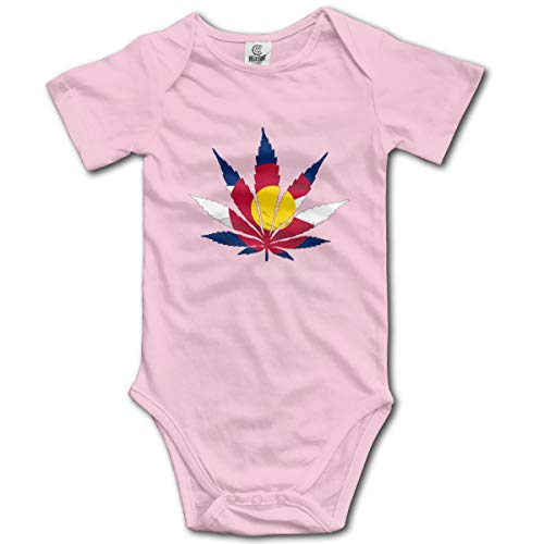 Price comparison product image rhfjgk ldjg Weed Colorado Flag Baby Short-Sleeve Bodysuit for Baby Girls Pink