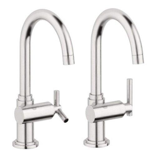 En0 Atrio Kitchen - Grohe 20 074 EN0 Atrio High Profile Basin/Pillar Tap Faucet, Infinity Brushed Nickel