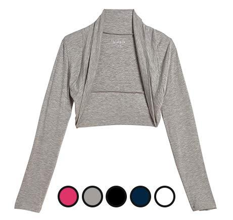 KIDPIK Shrug Cardigans for Girls – Versatile Open Bolero in Black, White, Fuchsia Purple, Blue Grey